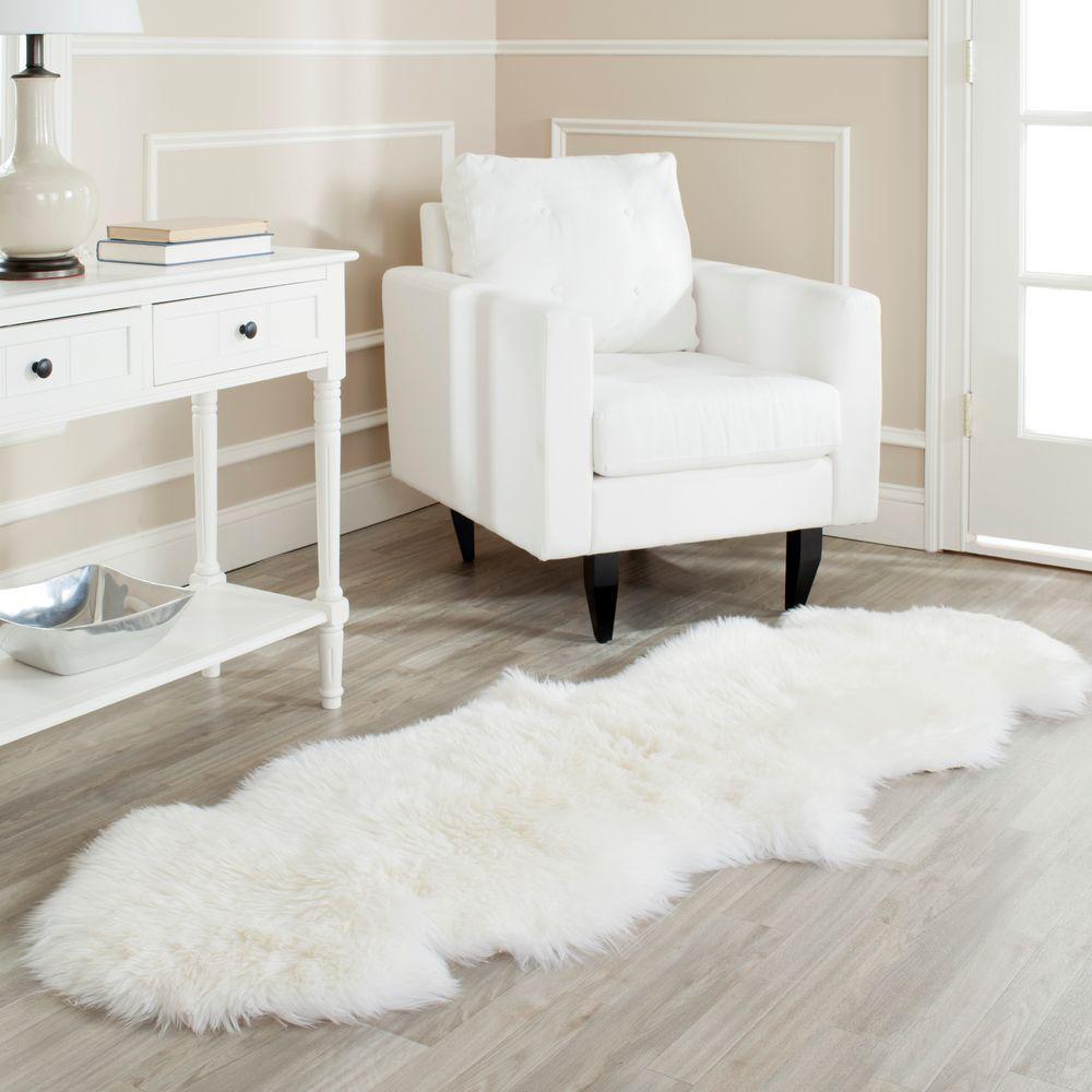 Sheep Skin White 2 ft. x 6 ft. Runner Rug