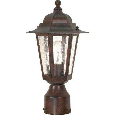 1-Light Outdoor Old Bronze Incandescent Post Light