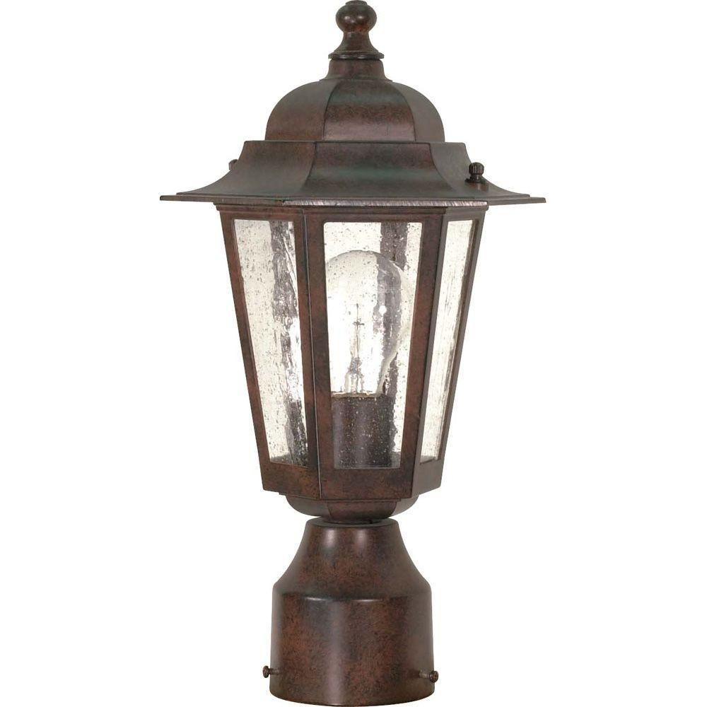 1-Light Outdoor Old Bronze Incandescent Post Light