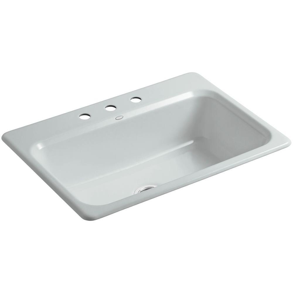 Bakersfield Drop-In Cast-Iron 31 in. 3-Hole Single Bowl Kitchen Sink in Ice Grey