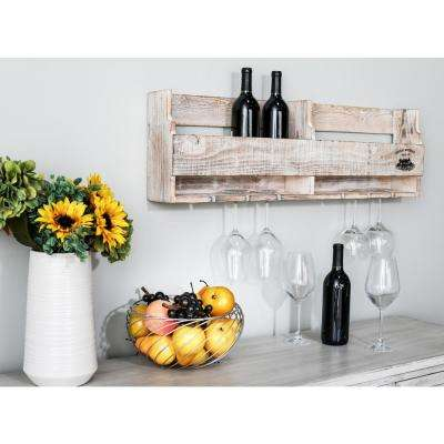 Distressed Brown Wood 8-Bottle Wall Mounted Wine Holder