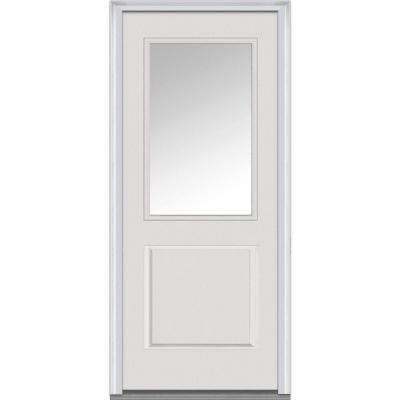 32 in. x 80 in. Right-Hand Inswing 1/2-Lite Clear 1-Panel Classic Primed Fiberglass Smooth Prehung Front Door