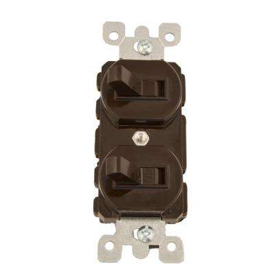 15 Amp Commercial Grade Combination Single Pole Toggle Switch and 3-Way Switch, Brown