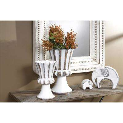 White and Brown Attractive Decorative Resin Footed Urn