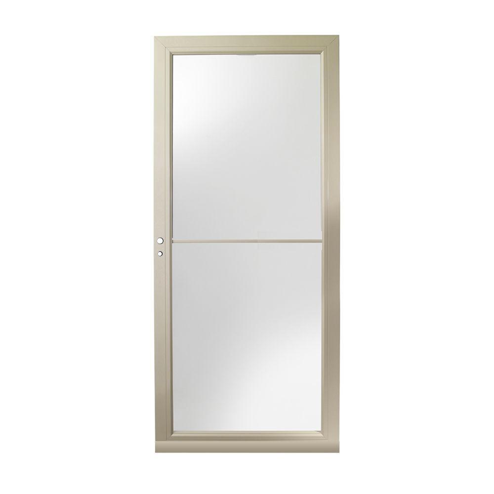 36 in. x 80 in. 3000 Series Sandtone Left-Hand Self-Storing Easy Install Aluminum Storm Door