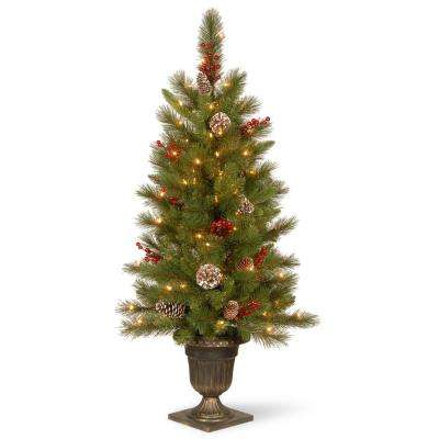 4 ft. Feel Real Bristle Berry Entrance Tree in Dark Bronze Pot with 100 Clear Lights