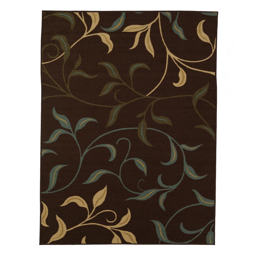 Ottomanson Leaves Design Brown 3 Ft. 3 In. X 5 Ft. Non