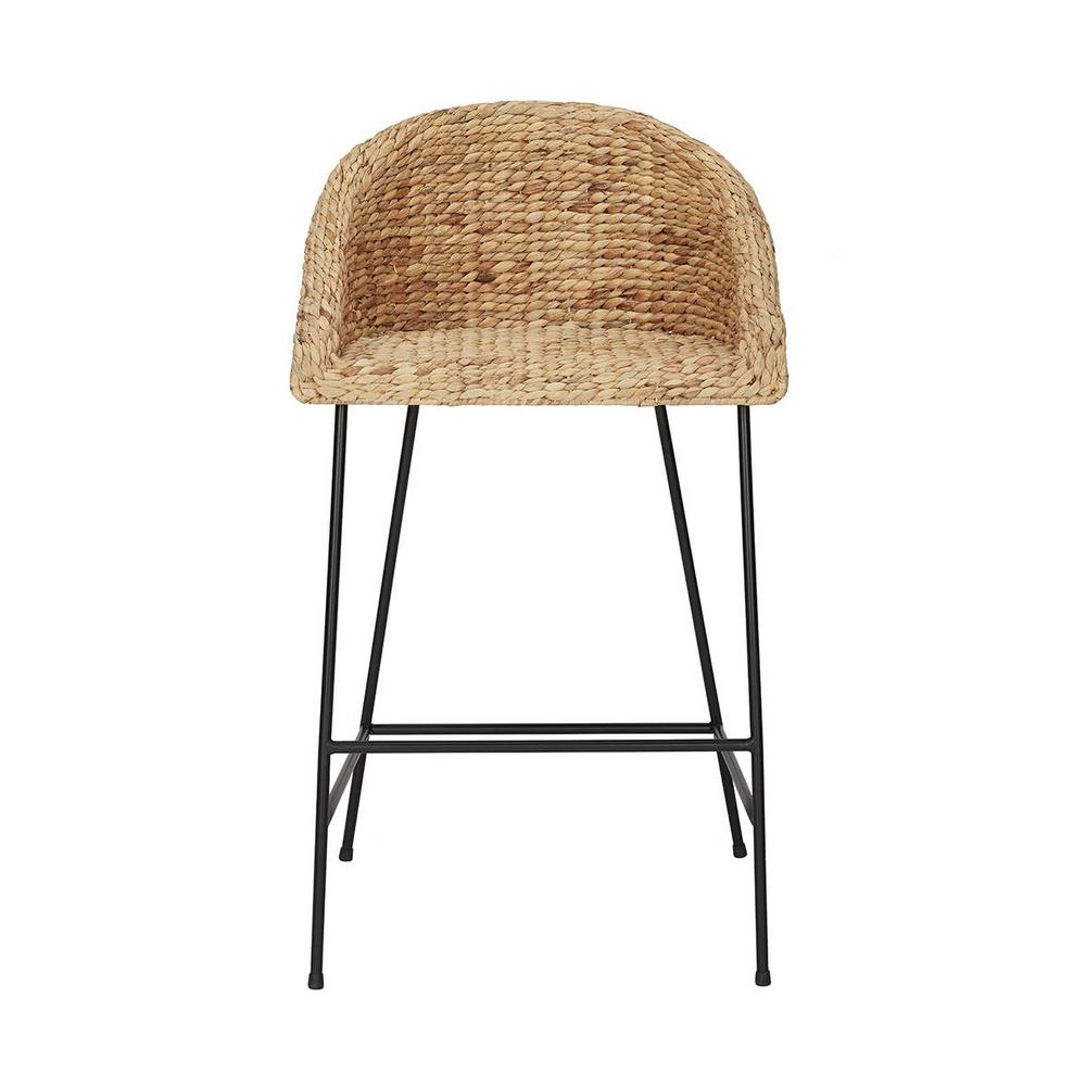 Stylewell StyleWell Black and Natural Wood Bar Stool with Natural Seat (21.42 in. W x 38.25 in. H)
