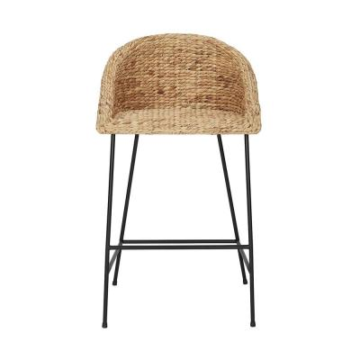 StyleWell Black Metal Bar Stool with Back and Natural Seat (21.42 in. W x 38.25 in. H)
