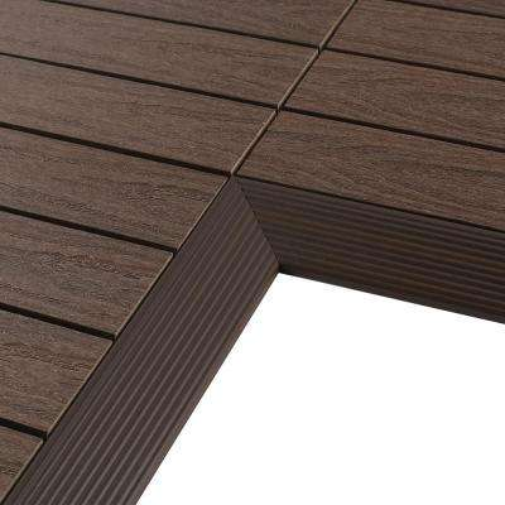 1/6 ft. x 1 ft. Quick Deck Composite Deck Tile Inside Corner in Spanish Walnut (2-Pieces/Box)