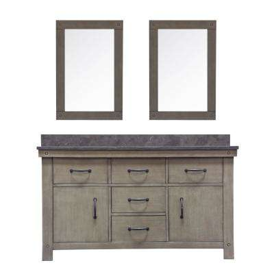 Aberdeen 60 in. W x 34 in. H Vanity in Grizzle Gray with Granite Vanity Top in Limestone with White Basins and Mirrors
