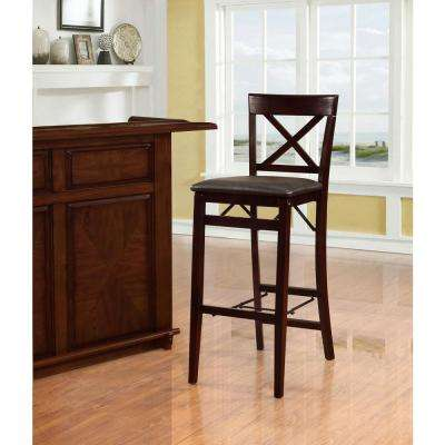 Triena 30 in Espresso X Back Folding Bar Stool