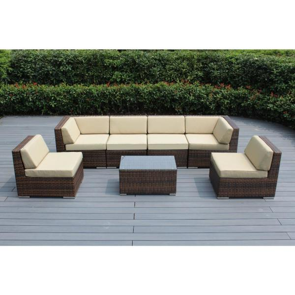 Ohana Mixed Brown 7-Piece Wicker Patio Seating Set with Sunbrella Antique Beige Cushions