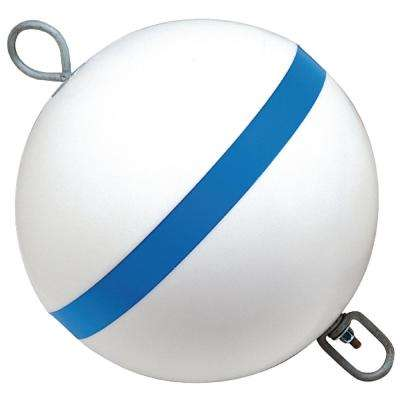 Traditional Sur-Moor Mooring Buoy, White with Blue Reflective Striping