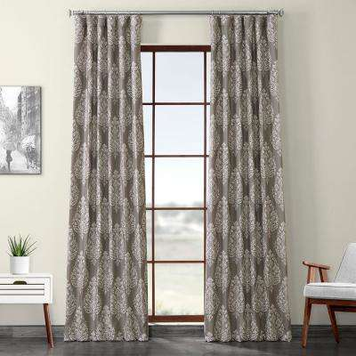 Istanbul Taupe Brown Printed Linen Textured Blackout Curtain - 50 in. W x 84 in. L (1-Panel)