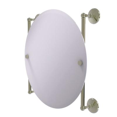 Monte Carlo Collection 22 in. x 22 in. Round Frameless Rail Mounted Mirror in Polished Nickel