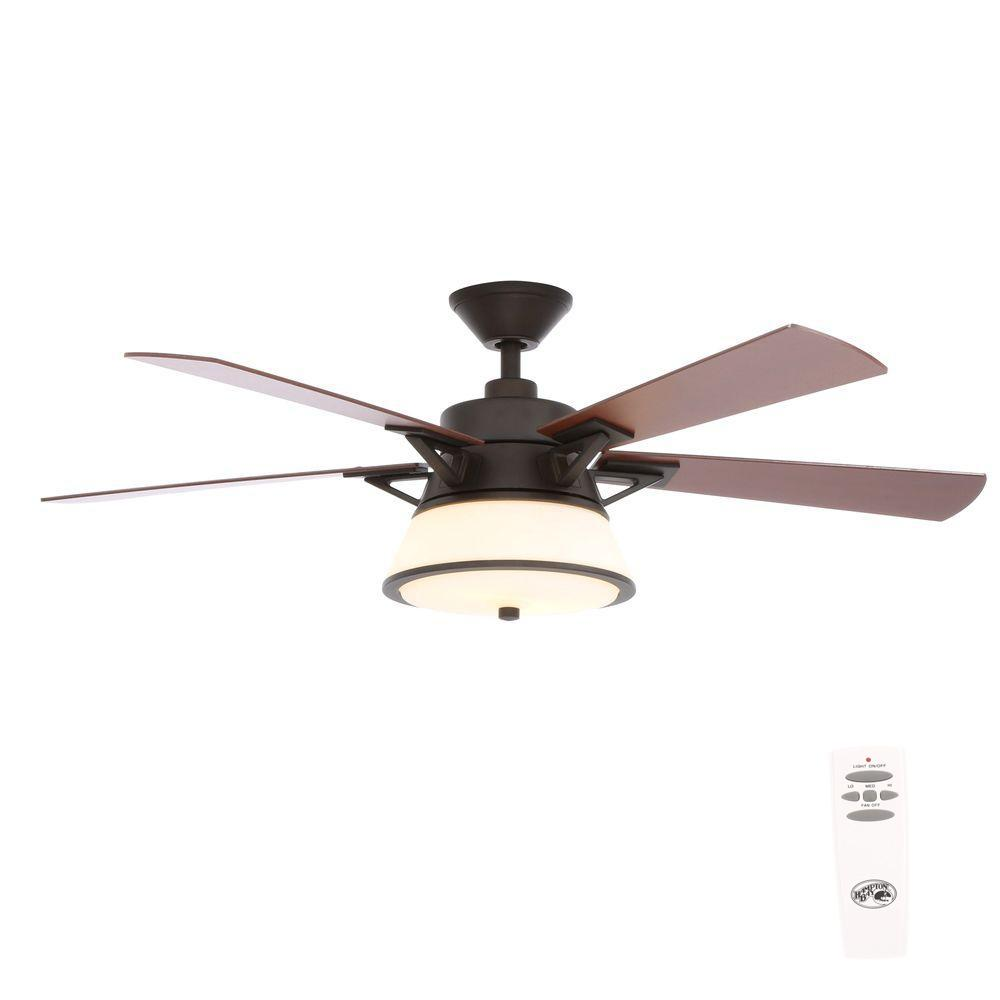 Indoor Oil Rubbed Bronze Ceiling Fan With Light Kit And