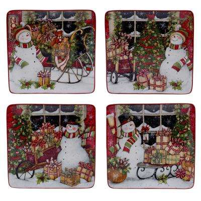 Snowman's Sleigh 8.25 in. Salad/Dessert Plate (Set of 4)