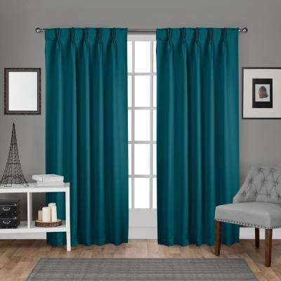 Sateen 30 in. W x 96 in. L Woven Blackout Pinch Pleat Top Curtain Panel in Teal (2 Panels)