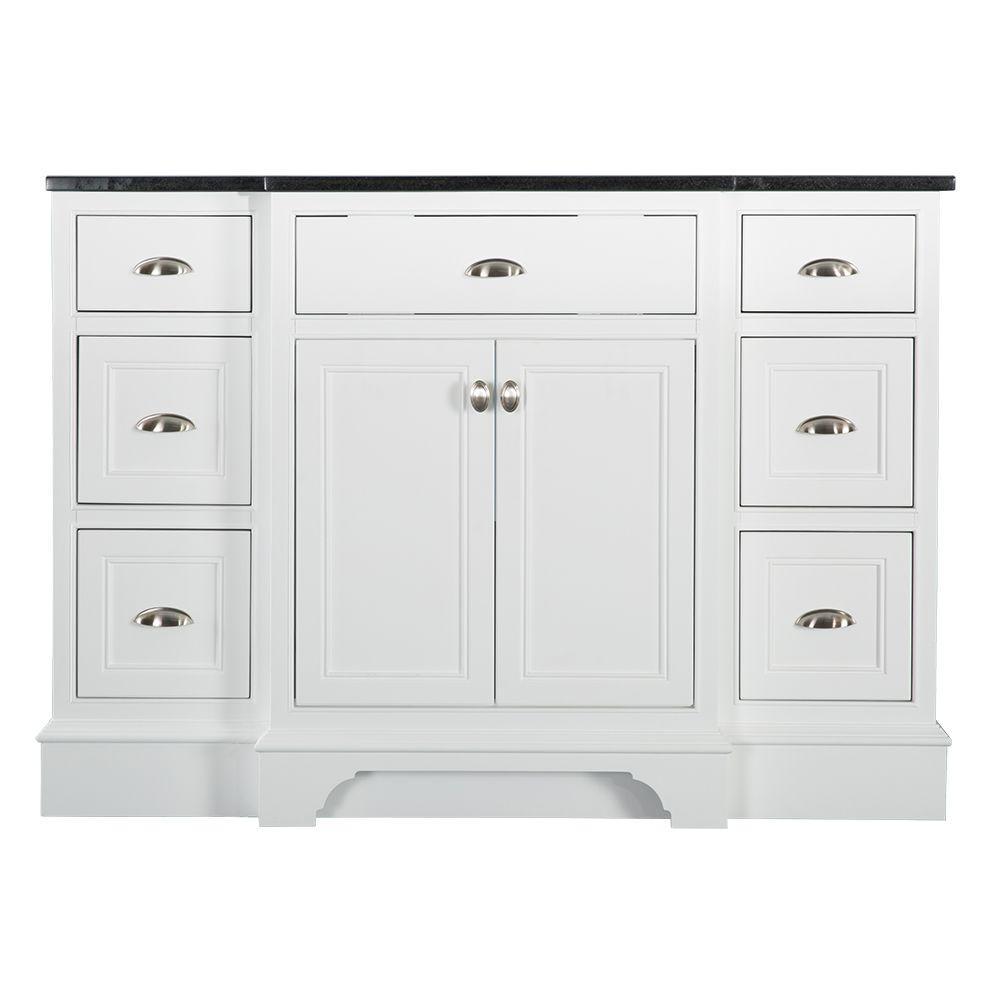 Home Decorators Collection Hayward 49 in. W x 22 in. D Bath Vanity in White with Granite Vanity Top in Black