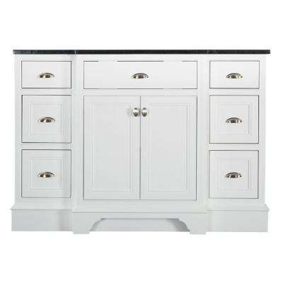 Hayward 49 in. W x 22 in. D Bath Vanity in White with Granite Vanity Top in Black