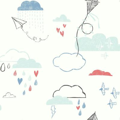 56 sq. ft. Kites In The Clouds Wallpaper