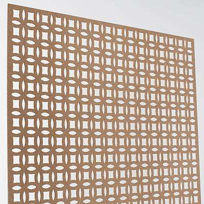 72 in. x 24 in. x 1/8 in. Unfinished Interlocking Circle Decorative Perforated Paintable MDF Screening Panel Insert