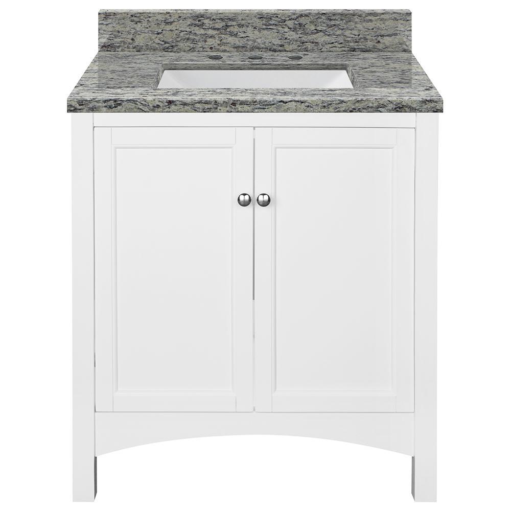 Haven 31 in. W x 22 in. D Bath Vanity in White with Granite Vanity Top in Santa Cecilia with Trough White Basin