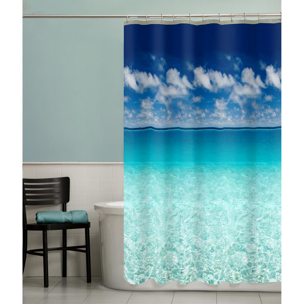 Maytex 70 In X 72 Photoreal Escape Beach PEVA Waterproof Shower Curtain