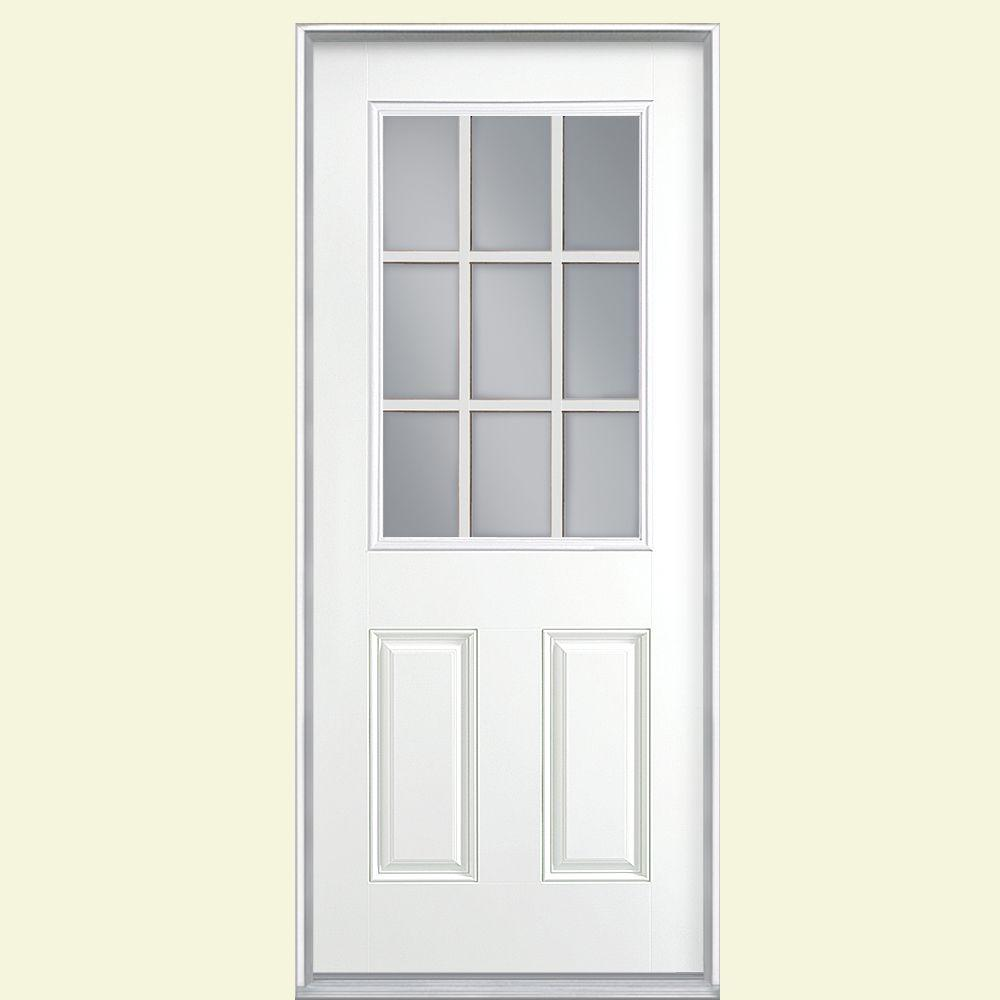 Masonite 36 in. x 80 in. 9 Lite Pure White Left Hand Inswing Painted Smooth Fiberglass Prehung Front Door, Vinyl Frame