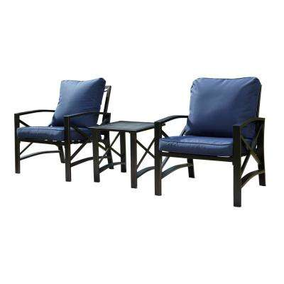 3-Piece Metal Patio Deep Seating Set with Blue Cushions
