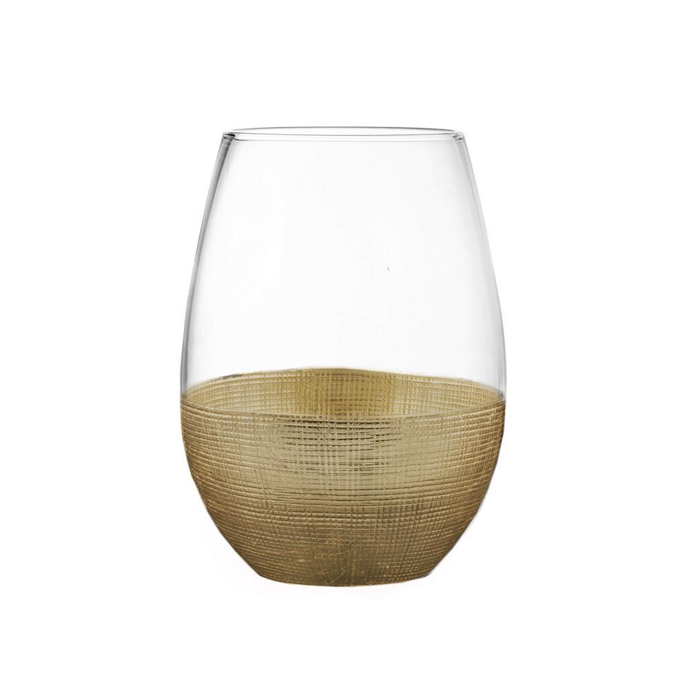 20 fl. oz. Linen Gold Stemless Wine Glasses (4-Pack)
