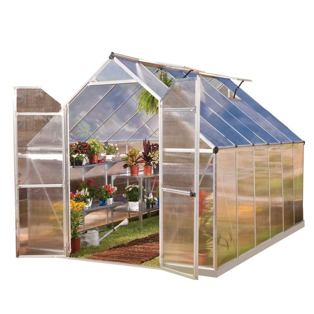 Palram Essence 8 ft. x 12 ft. Silver Polycarbonate Greenhouse