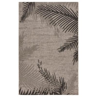 LR Home Captiva Beige/Black 1 ft. 10 in. x 3 ft. Tropical Palm Leaves Polypropylene Indoor/Outdoor Area Rug, Beige / Black