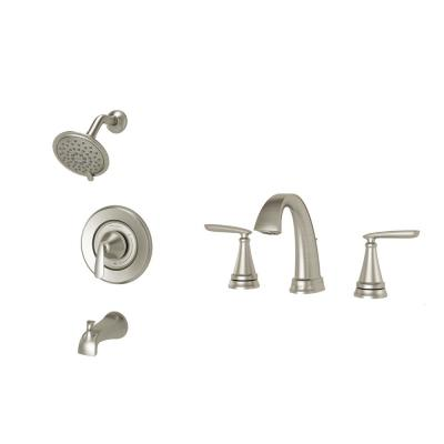Somerville 8 in. Widespread Bathroom Faucet and Single-Handle 3-Spray Tub and Shower Faucet Set in Brushed Nickel
