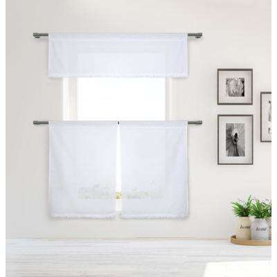 Tessie Kitchen Valance in White-White - 15 in. W x 58 in. L (3-Piece)