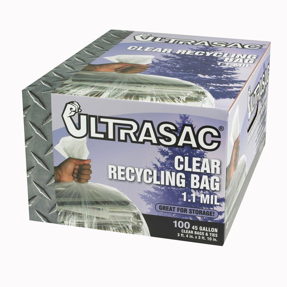 home depot recycling ultrasac 45 gallon clear recycling bags 100 count hmd 30625