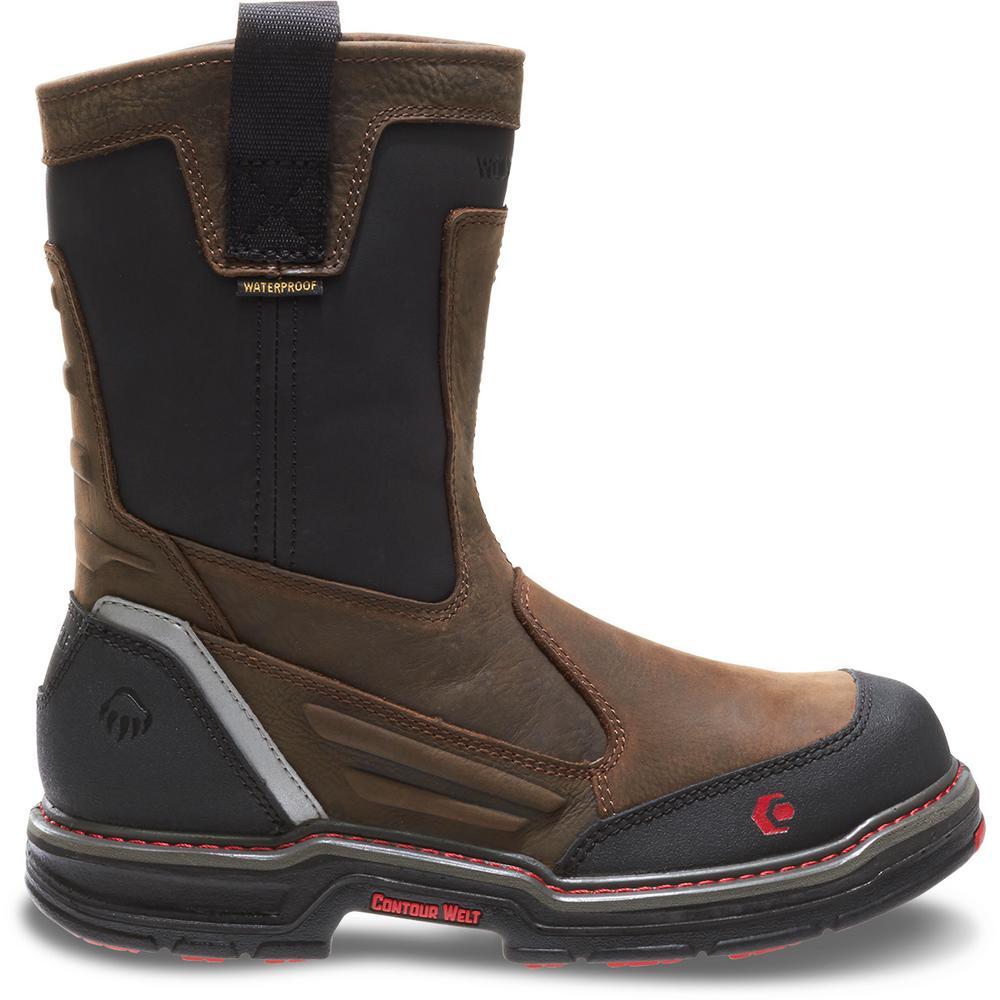 Wolverine Men's Overman Size 8.5M Brown Full-Grain Leather Waterproof Composite Toe 10 in. Boot