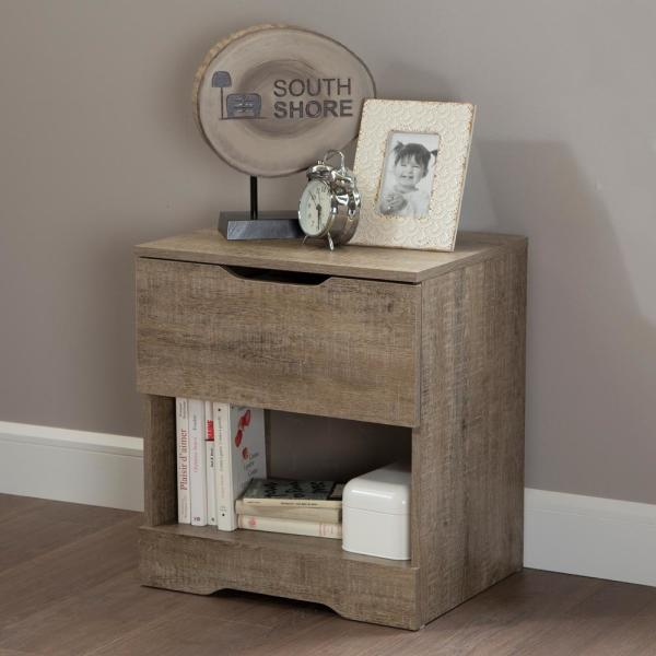 South Shore Holland 1-Drawer Nightstand in Weathered Oak