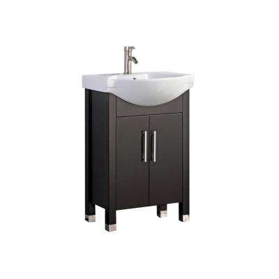 Pau 20 in. W x 16 in. D x 36 in. H Vanity in Espresso with Ceramic Vanity Top in White with White Basin