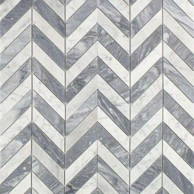 Dart White Carrara and Bardiglio 10-3/4 in. x 10-3/4 in. x 10 mm Polished Marble Mosaic Tile