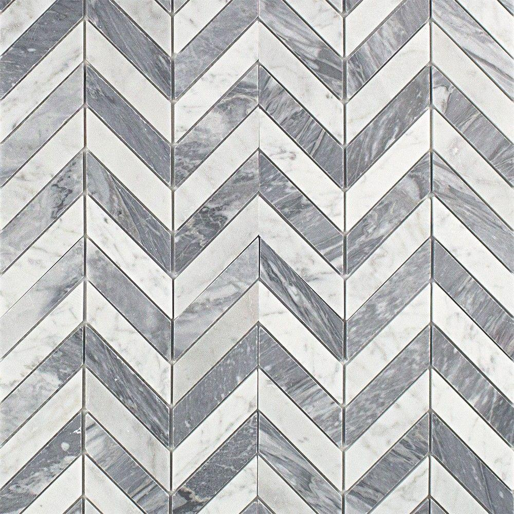 Sample Stainless Steel Carrara White Marble Stone Mosaic: Ivy Hill Tile Dart White Carrara And Bardiglio Marble