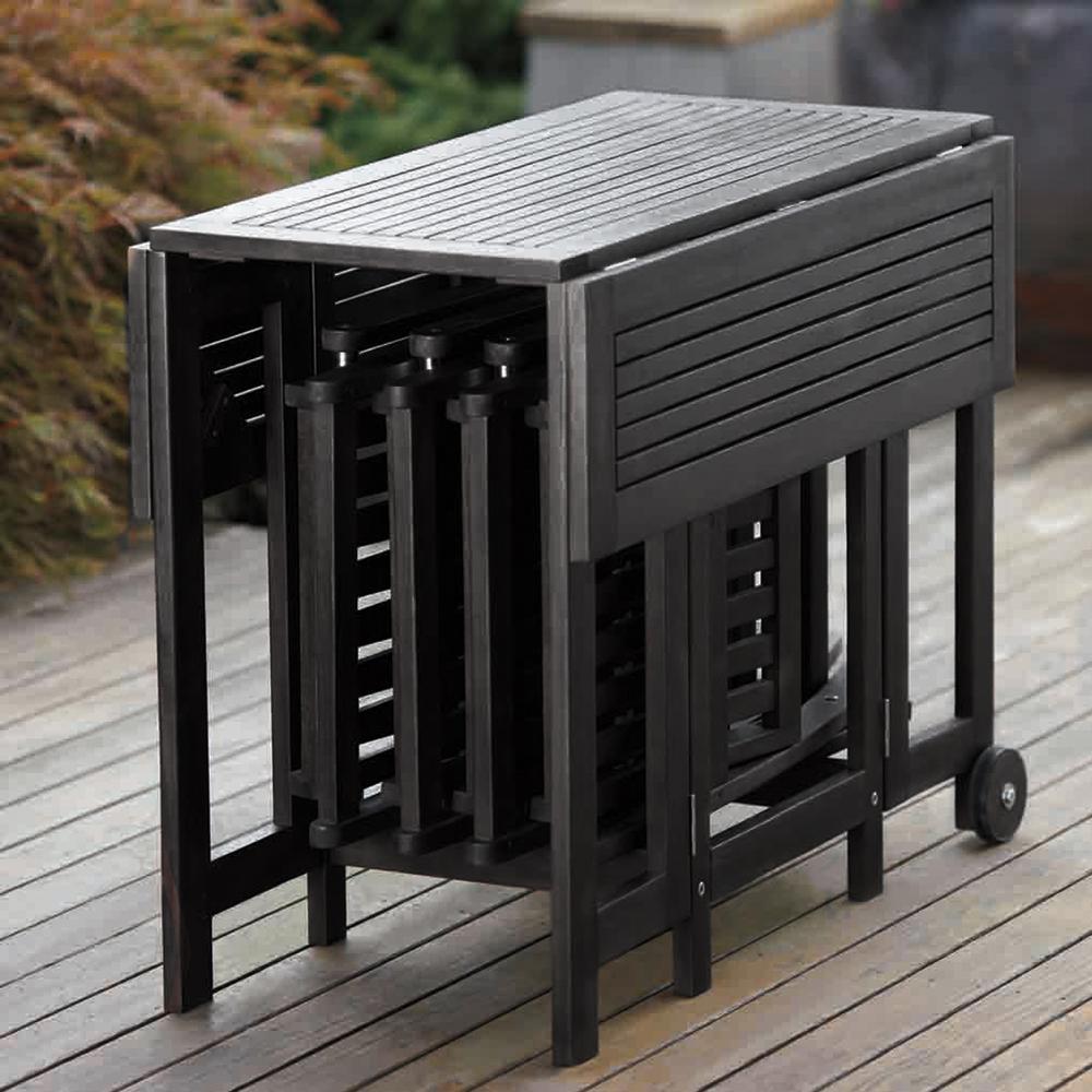 Merry Garden Acacia Folding Dining, Folding Patio Furniture Dining Sets