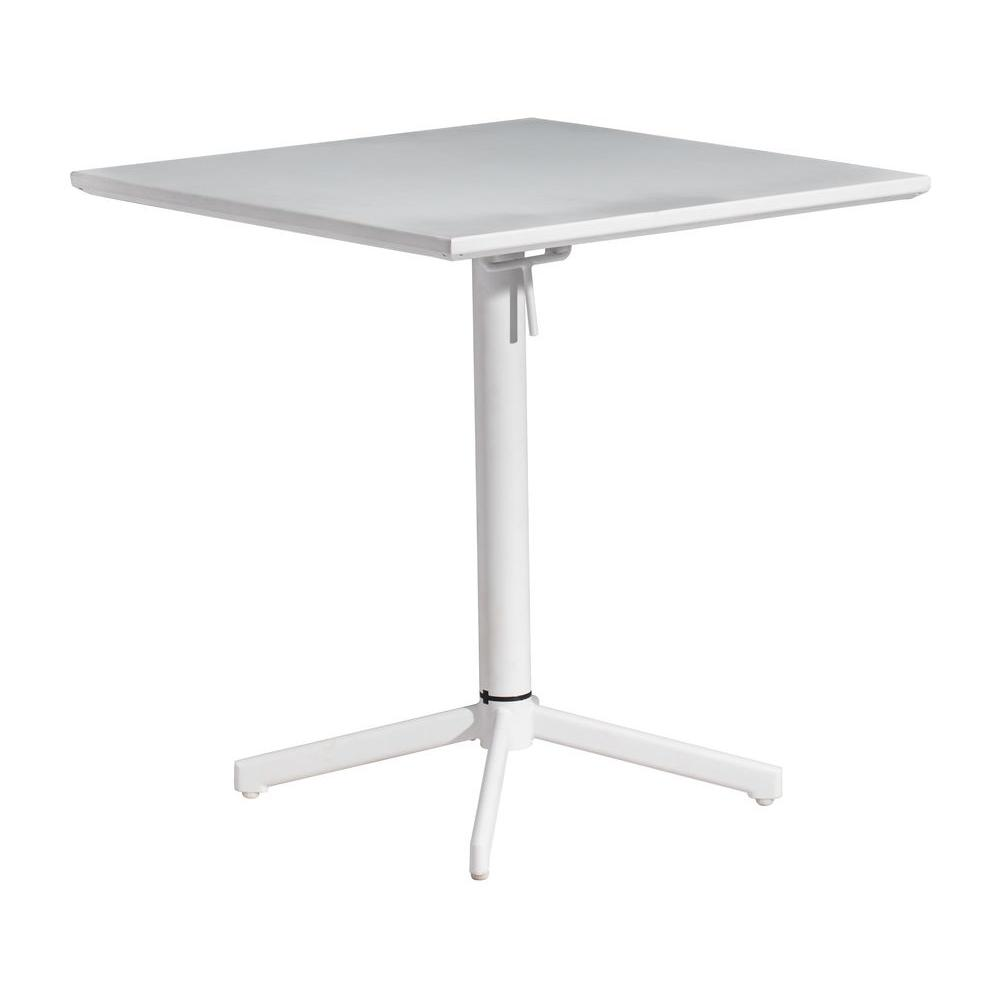 ZUO Big Wave White Patio Folding Square Table