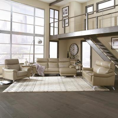 Moderno 3-Piece Beige Leather Contemporary Upholstered Chaise Sofa Set