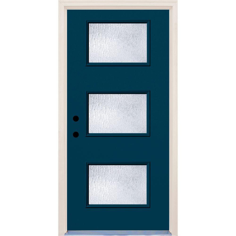 36 in. x 80 in. Atlantis 3 Lite Rain Glass Painted Fiberglass Prehung Front Door with Brickmould