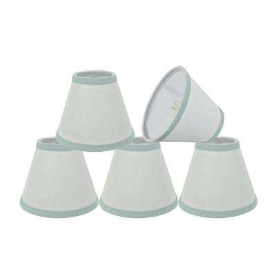 6 in. x 5 in. White and Light Blue Trim Hardback Empire Lamp Shade (5-Pack)
