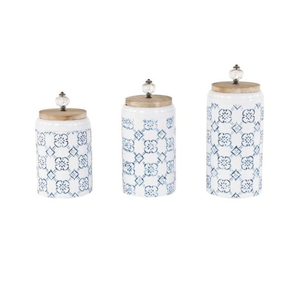 Tall, Round French Country Design Blue and White Metal Jars with Wood Lids and Acrylic Pumpkin Handles (Set of 3)