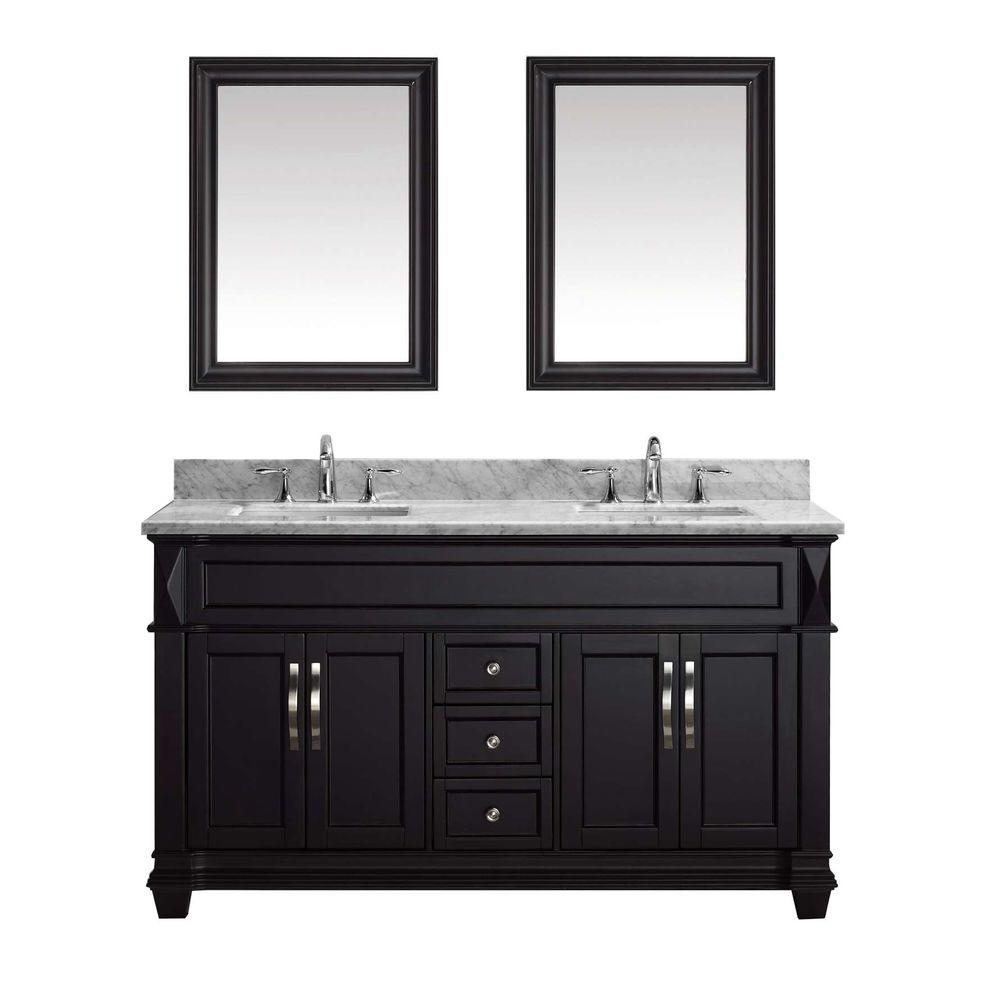 Virtu Usa Victoria 60 In W Bath Vanity Espresso With Marble Top