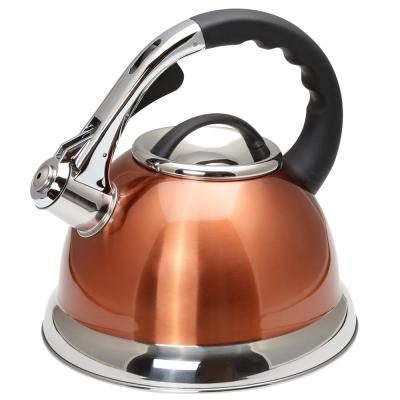 Camille 3.0 Qt. Stainless Steel Whistling Tea Kettle with Aluminum Capsulated Bottom in Metallic Copper